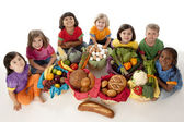 Healthy Eating. Diverse group of children holding baskets with the food groups of fruits — Stock Photo