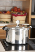 Canning. Pressure cooker used for canning homegrown fruits — Stock Photo
