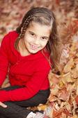 Smiling caucasian little girl in the seasonal autumn leaves — Stock Photo
