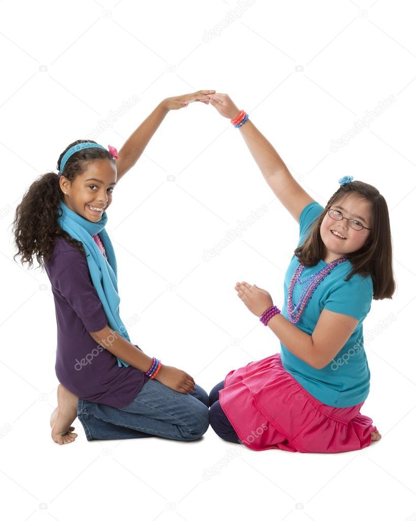 Human Alphabet Diverse Children Work Together To Form The