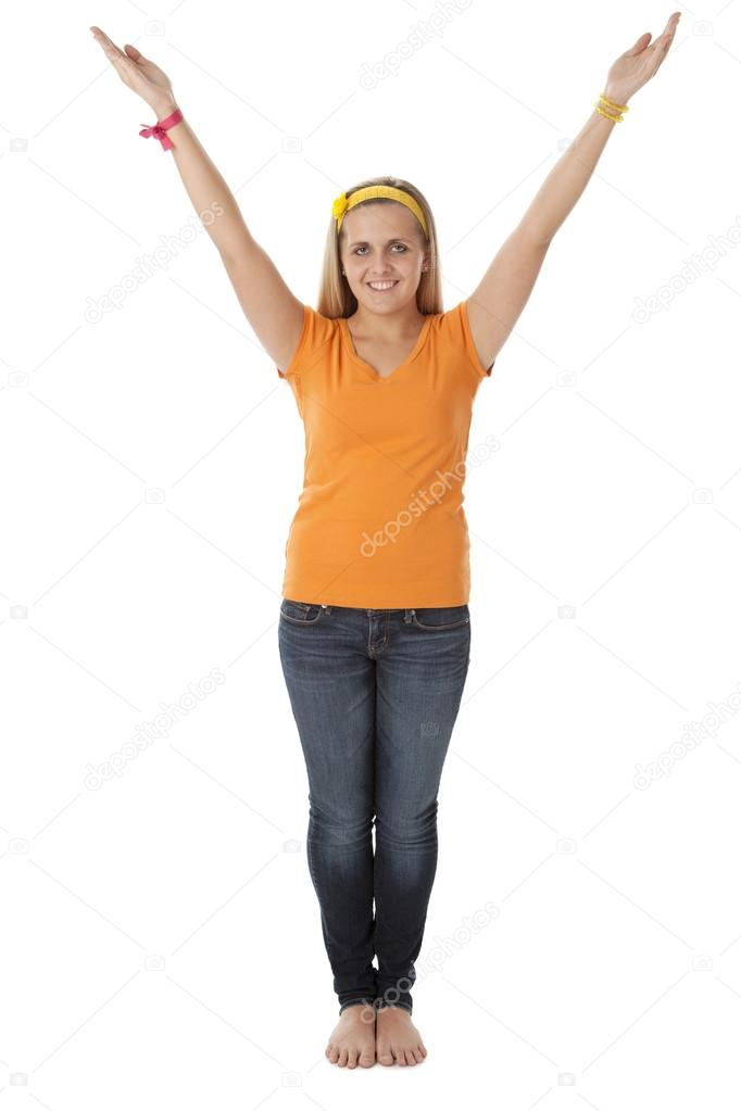 Stock Photo Human Alphabet Girl Shows Letter Y on A Multicultural Night