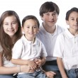 Caucasian  family with siblings - Stock Photo