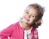Smiling mixed race little girl head shoulders — Stock Photo