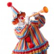Stok fotoğraf: Clowns. Adult male clown blowing noisy musical horn