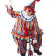 Clowns: Adult male clown riding a little bicycle — Stock Photo