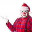 Clowns. Adult clown wearing a santa hat for the Christmas holiday season — Stock Photo #21424169