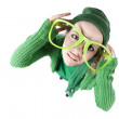 Humorous fisheye view from above of a silly confused teenage girl — Stock Photo