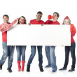 Sports Fans. Group of cheering teenagers standing together for the winning red team — Stock Photo