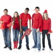 Sports Fans. Group of disappointed teenagers standing together for the losing red team - Stok fotoğraf