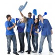 Foto Stock: Sports Fans: Group Diverse Teenagers Together Friends Team Blue