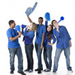 图库照片: Sports Fans: Group Diverse Teenagers Together Friends Team Blue