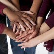 Sports Fans. Group of diverse teenagers putting their hands together — Stock Photo #21425153