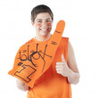 Sports Fans. Hispanic male sports fan roots for the orange team with foam finger and face paint — Stock Photo #21425305