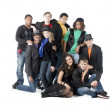 Diverse Teenagers. Group of diverse teenagers wearing colorful clothes with black — Stock Photo