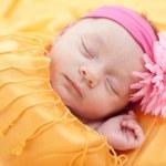 Sleeping caucasian newborn baby girl — Stock Photo #21425969