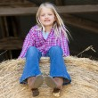 Stock Photo: Midwestern little cowgirl