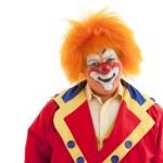 Circus Clowns: Close Up of Professional Male Clown Orange Hair — Stock Photo