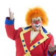 Circus Clowns: Close Up of Professional Male Clown Orange Hair — Stock Photo