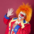 Circus Clowns: Close Up of Professional Male Clown Orange Hair - Foto Stock