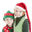 TClose up of two of santas christmas elves with pointed ears. — Stock Photo