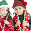 Two lIttle christmas elves hold candy canes and suckers — Stock Photo #21427377