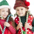 Stock Photo: Two lIttle christmas elves hold candy canes and suckers