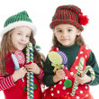 Two lIttle christmas elves hold candy canes and suckers - Stock Photo