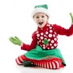 überrascht, begeistert kleine Mädchen gekleidet wie ein Weihnachts-elf — Stockfoto