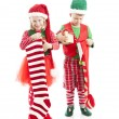 Two young elves are holding gifts — Stock Photo