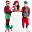Three hispanic Christmas Elves — Stok fotoğraf