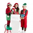 Three hispanic Christmas Elves — Stock Photo #21427689