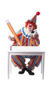 Clowns. clown comptable adulte assis à un bureau d'affaires — Photo