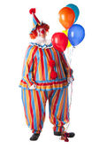Clowns. Adult male clown holding colorful helium balloons. — Stock Photo