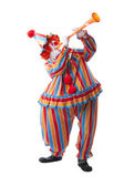 Clowns. Adult male clown blowing a noisy musical horn — Stock Photo