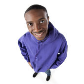 Fisheye caricature of a confident teenage boy — Stock Photo