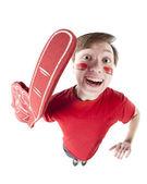 Gli appassionati di sport. appassionato di sport maschio caucasica tifo per la squadra rossa — Foto Stock