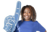 Sports Fans. Black female sports fan — Stock Photo