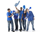 Sports Fans: Group Diverse Teenagers Together Friends Team Blue — 图库照片