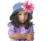 Worried disappointed mixed race little girl — Stock Photo