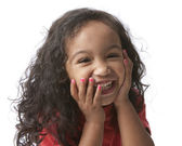 Closeup laughing mixed race little girl — Stock Photo
