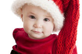Close up of an adorable baby girl with whimsical long stocking cap. — Stock Photo