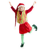 One of santas christmas elves dances with joy — Stock Photo