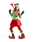 Dancing female christmas elf — Stock Photo