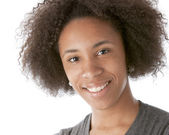 A closeup headshot of a 17 year old mixed race girl — Stock Photo