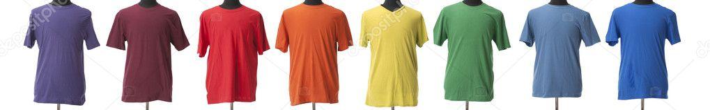 Een kleurrijke vierkleurendruk van birght t shirts voor jongens of mannen in de kleuren van een - Lay outs ruimte van de jongen ...