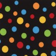 A high resolution black fabric with multi-colored polka dots — Stock Photo