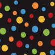 High resolution black fabric with multi-colored polkdots — Stock Photo #21430267