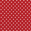 A high resolution bright red fabric with white polka dots — Stock Photo