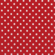 High resolution bright red fabric with white polkdots — Stockfoto #21430451