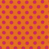A high resolution vibrant orange fabric with bright pink polka dots — Stock Photo